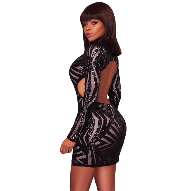 Black Sequin Detail Open Back Party Sexy Club Mini Dress