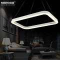 White Color LED Pendant Light Fixture Rectangle Chandelier MD81087