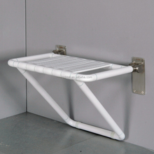 Wall mounted anti-bacterial nylon folding shower seat with support for disabled