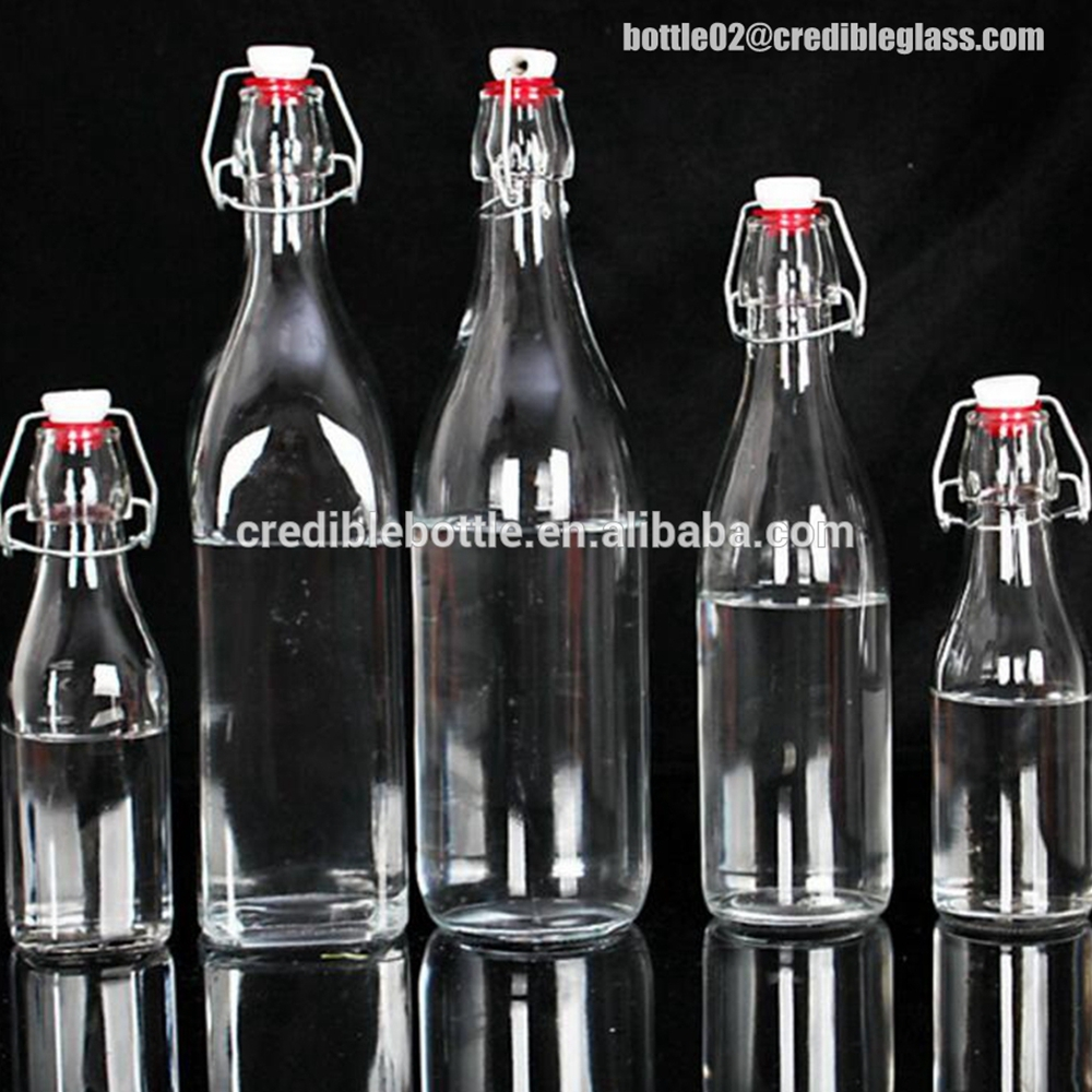 glass bottle with metal clip lid/airtight glass bottle with clamp stopper