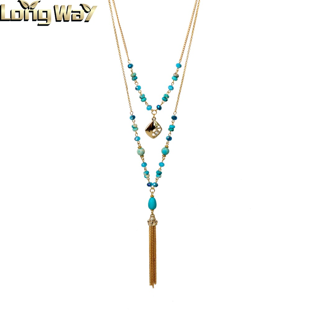 Fashion Necklace Turquoise Bead Necklace With Tasel