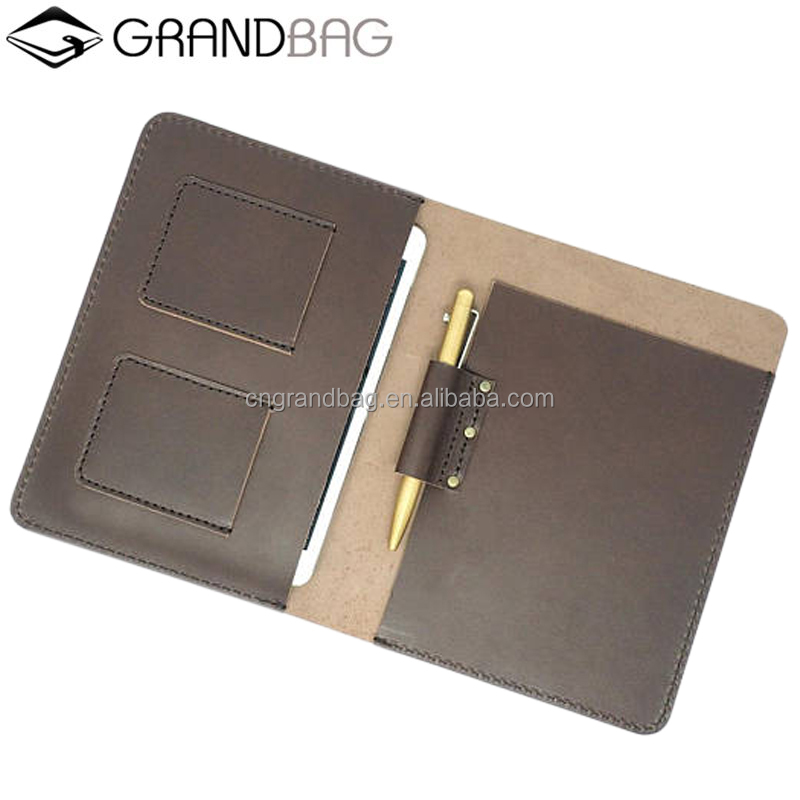Genuine Crazy Horse Leather Portfolio Notebook Padfolio Tablet Case for iPad Mini Sleeve