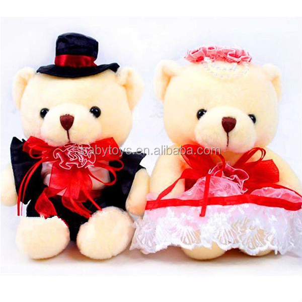 Festive New couples plush teddy bear toy for lovers and wedding gifts