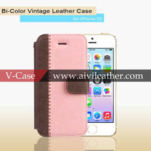 New Fashion Genuine Leather Phone Case Color Mix Book Flip Magnetic Closure Case for iphone5s