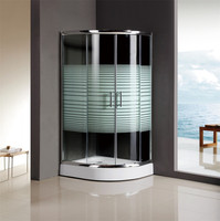 arc shaped enclosed shower cubicles with tempered stripe glass