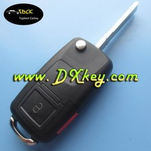 For VW key cover VW key shell 2+panic button flip remote key blank