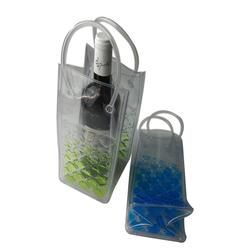 Wine bottle chill cooler ice bag freezer bag filled with a non-toxic safe freezable gel liquid