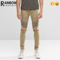 Top quality fashion wholesale men super skinny ripped jeans with biker