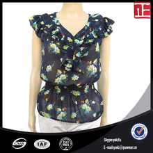Wholesale Custom Fashion Casual Women Soft Handfeel Sleeve Floral Ladies Blouse And Office Top
