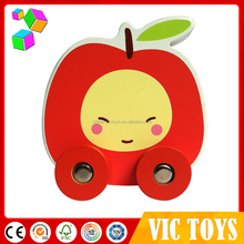 Latest design various shapes of Juniper wood+ mdf car toy with 4 wheels Wholesale