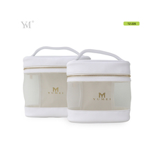 wholesale write leather+mesh cosmetic makeup bag with handle