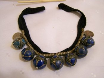 antique round big lapis silver beads necklace