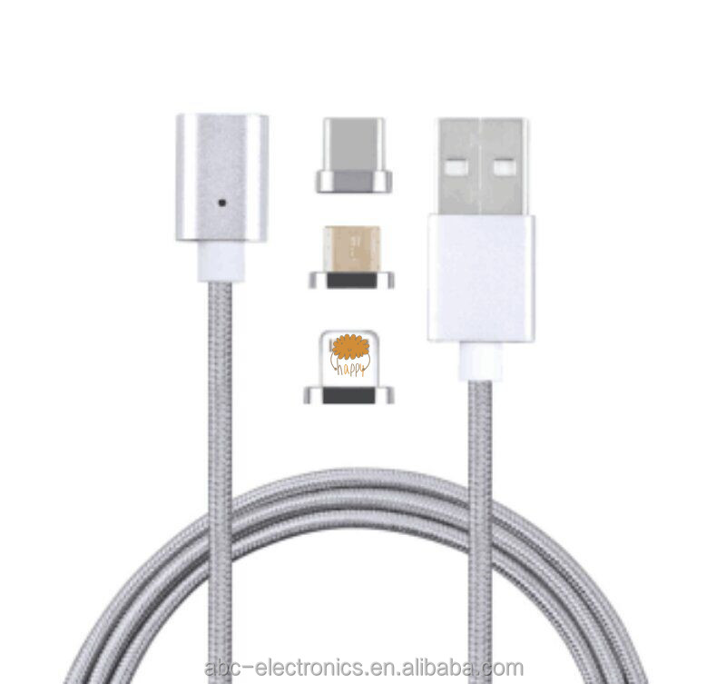 magnetic micro usb usb cable 3 in 1 magnet metal usb cable for all phones