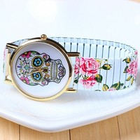 Japan movt rose print steel strap couple watch have stock