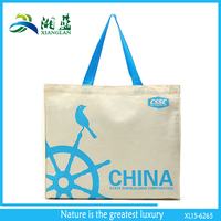 big size plain tote natural cotton shopper bag with logo printing