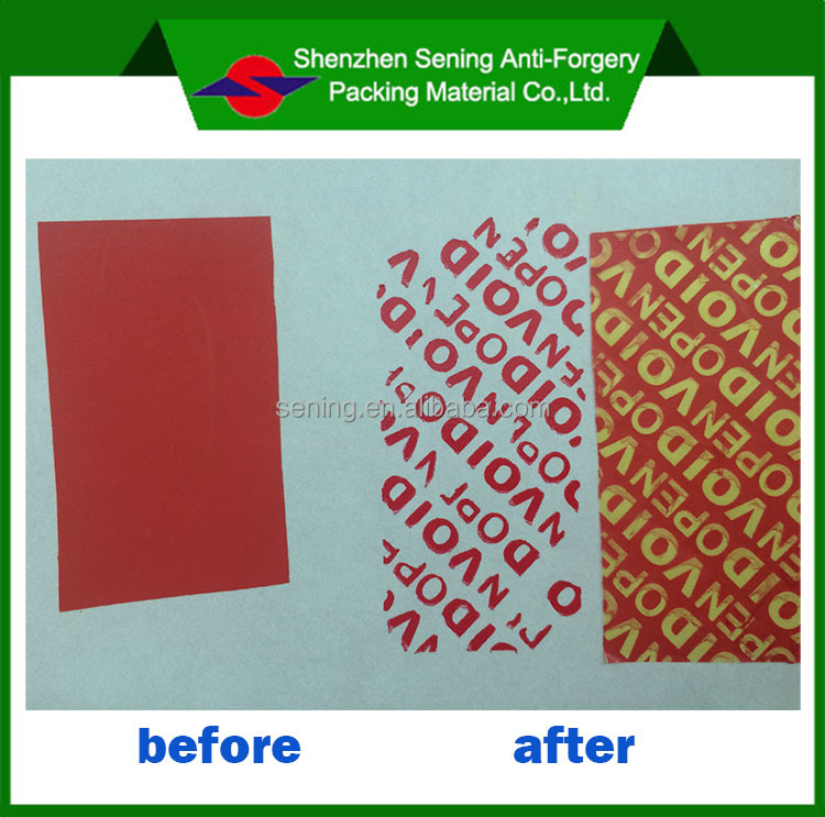 PET Material Adhesive Sticker Type Security Paper VOID Sticker