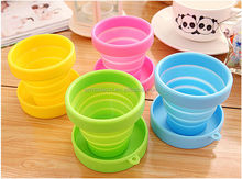 eco-friendly easy to carry silicone collapsible <strong>cup</strong> with lid