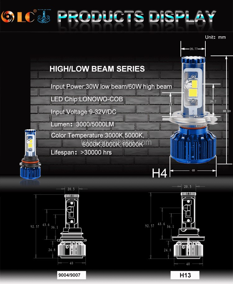 Auto parts h1 h3 h7 h4 led headlight,60W 5000lm led car headlight