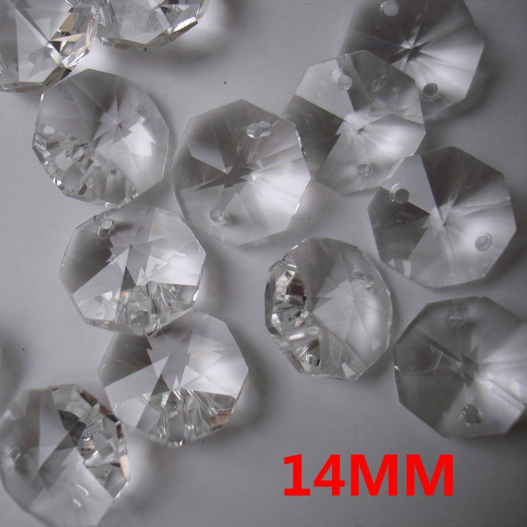 14mm Crystal Octagon Beads Glass Chandelier Parts with 2 holes For Prism Suncatchers Beads Curtain Wedding Home
