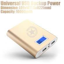 10000mAh Dual Battery Charger Power Bank with Digital Display for ipad iphones Samrtphones - Gold