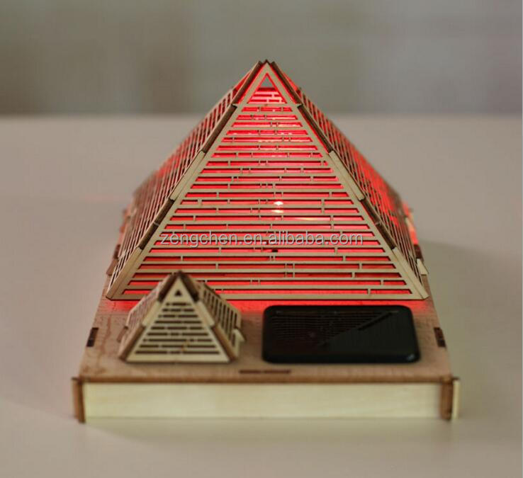 DIY Assembly 3D Wooden Great Pyramid of Khufu Building Model Educational Toy LED Solar Light