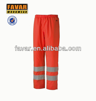 fluorescence orange pants with reflective tapes safety pants for worker men's pants