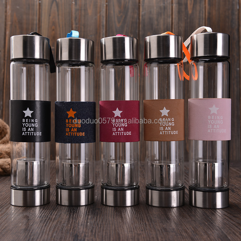 YXJ015 450ml promotion wide mouth glass tea infuser bottle with neoprene pouch