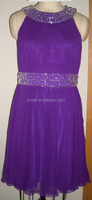 Stock Clearance ES-3473A Pleated Ruched Silk Chiffon Beaded Round-Neck Latest Evening Purple Short Party Dress