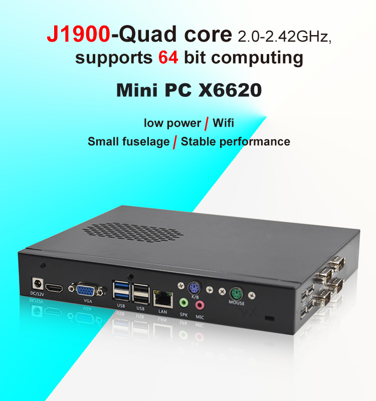 fanless industrial mini desktop computer rs232 4 thread with pci slot for factory
