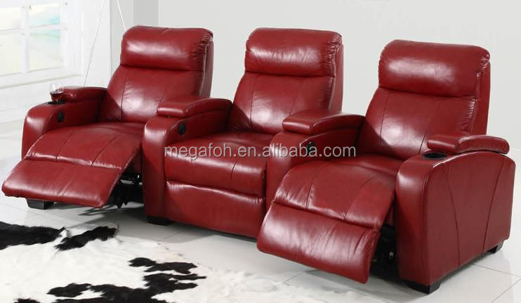 Luxury and super comfortable Red Leather Home Furniture Recliner Sofa for Sale