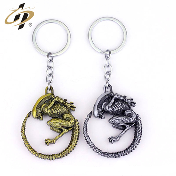 Promotional custom 3d logo antique Alien metal souvenir keychain made in China