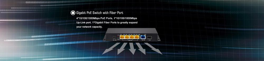 SP-1005HP 5 Ports Gigabit PoE Switch providing power and faster Ethernet for Wireless Access Point, IP Camera, IP Phone