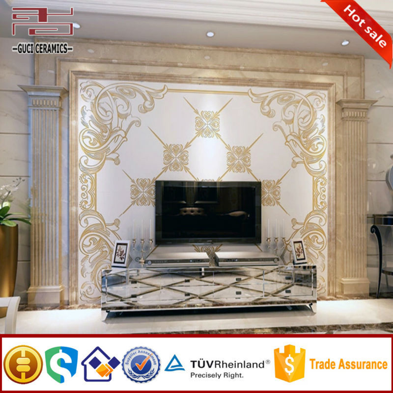 Living rooms beautiful tv panel decorative tile mural wall Decorative wall tiles for living room