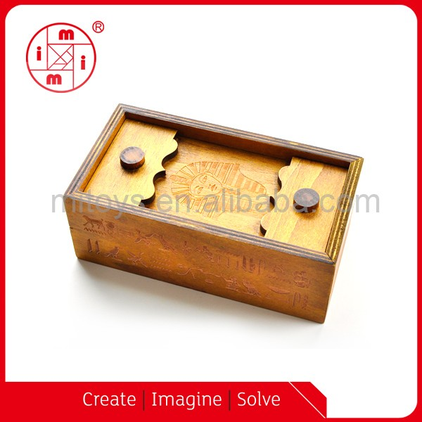 Chinese magic trick wooden puzzle box with secret box