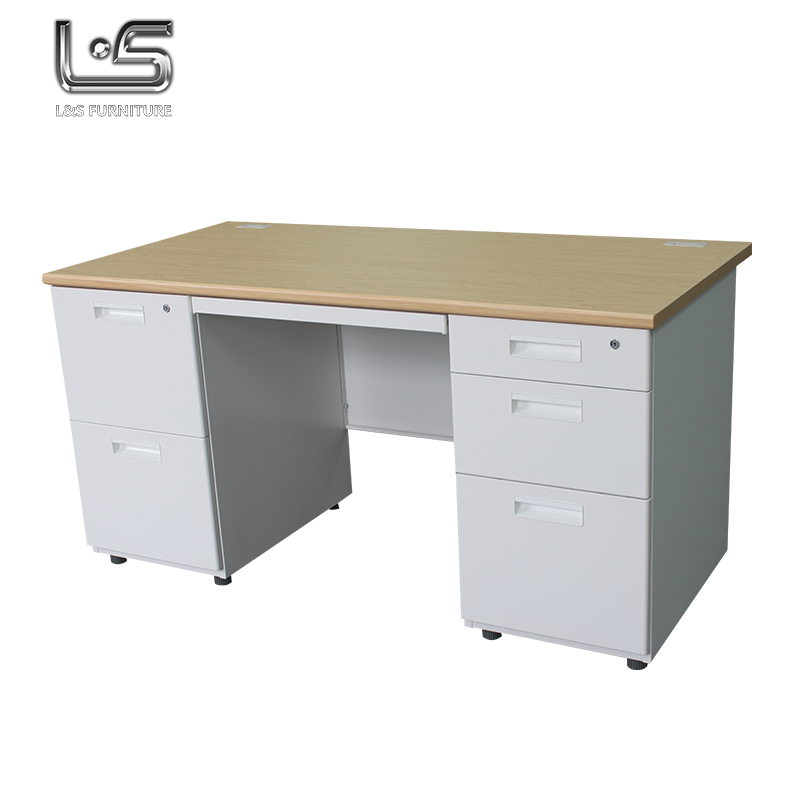 Top sale steel frame bilateral desk office table with lockers