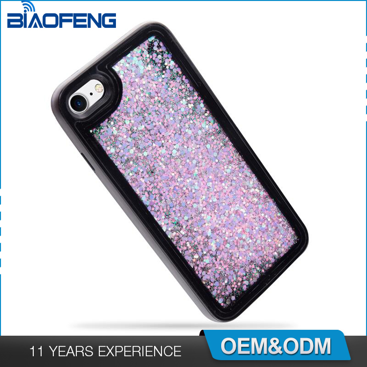 Import mobile phone accessories low moq mobile phone cases for iphone 7 liquid glitter water phone case
