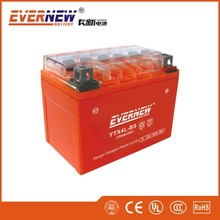 Orange red 12V4Ah YB4L-BS Gel Type Lead Acid Motorcycle Battery