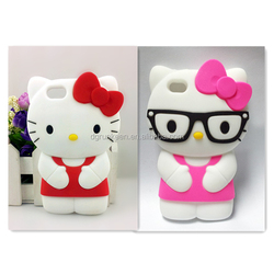 Hello Kitty cell phone case 3D cute cat ear cartoon mobile phone silicone case For Samsung Galaxy S6,s6 edge Factory Wholesale