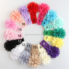 Kids crochet chiffon flower headband elastic hair bands