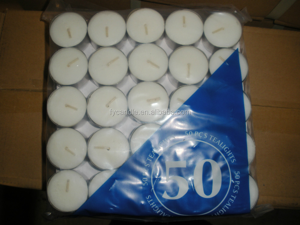PVC box white tealight candles