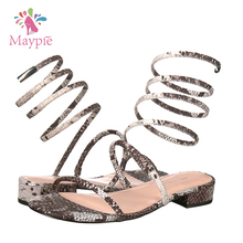 2017 Summer Sex Girl Indian Sex Photo Snake Skin Novelty Flat Sandals for Ladies Pictures