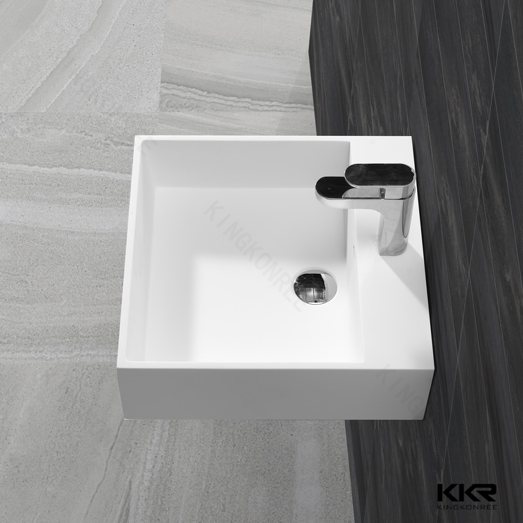 pure white stone top square single bowl wash basin