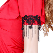 ZH2119A Wholesale cheap black lace tassel body arm chain