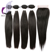 Virgin remy hair malaysian straight hair with closure