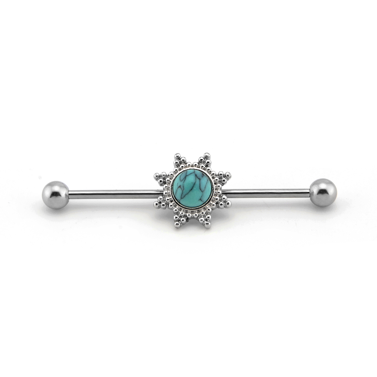 Turquoise Industrial Barbell Scaffold Ear piercing ring Jewelry