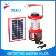 Factory Manufacture Red Emergency Portable Rechargeable Solar LED Camping Solar Lantern With 36LEDs