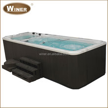 5810mm acrylic freestanding whirlpool container swimming pool hot tub combo with multi-color LED light