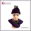 Newest fashion acrylic knitted hats and scarf girls knitted set scarf and hat