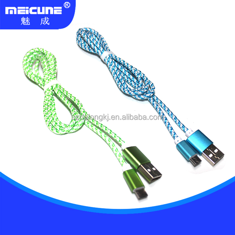 Shenzhen factory nylon twisted cable usb braided cable mobile phone accessoried