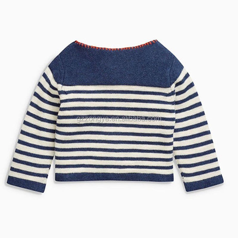 Navy Stripe Embroidered baby cardigan 2016